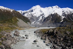Glacier mountain stream. Mount Cook range towering in the background of ice cold glacier mountain stream Stock Images