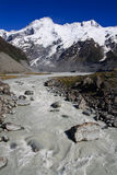 Glacier mountain stream portrait. Mount Cook range towering in the background of ice cold glacier mountain stream Stock Images
