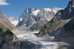 Glacier with mountains. Mer de Glace near Chamonix, France Stock Photography