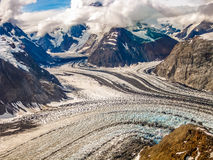 Denali National Park. Aerial view of a mountain glacier in the landscape of Denali National Park, Alaska, U.S Royalty Free Stock Image