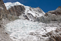 Glacier in the mountains. Himalayas. Nepal Royalty Free Stock Photo