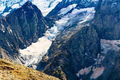 glacier in mountains near Dombay resort royalty free stock images