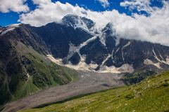 Glacier among the mountains of the North Caucasus. Stock Photos