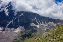 Glacier among the mountains of the North Caucasus. Stock Image