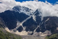 Glacier among the mountains of the North Caucasus. Stock Photo