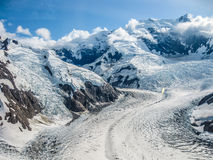 Glacier into the mountains of Wrangell -St. Elias  Royalty Free Stock Images