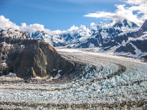 Denali. Aerial view of a mountain glacier in the landscape of Denali National Park, Alaska, U.S.A Royalty Free Stock Image