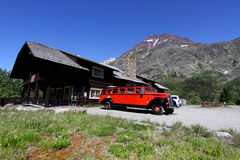 Glacier national park. Historic red bus tours in Glacier national park Stock Photo