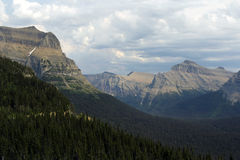 Glacier national park. With white clouds and blue sky, in Montana state, USA Stock Photos