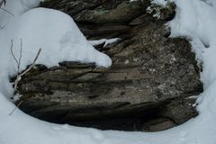 Glacier National Park che nevica nell'inverno Fotografie Stock
