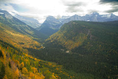 Glacier National Park: Going-to-the-sun road. With cloudy sky Royalty Free Stock Photography