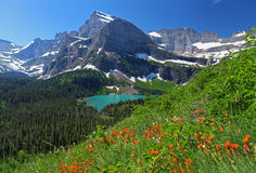 Glacier National Park. Grinnell Lake in Glacier National Park in Montana Stock Photos