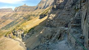 Highline Trail. Glacier National Park Montana Highline Trail  mountain peak glacier cliffs hiking dangerous high elevation climb famous walk backpack tourist Royalty Free Stock Photography