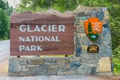 Glacier National Park sign Stock Photos