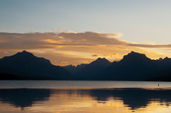 Glacier National Park Sunrise Over Mountains Royalty Free Stock Photography