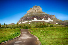 Glacier National Park. View of Mount Clements from Hidden Lake Trail, Glacier National Park, Montana stock image