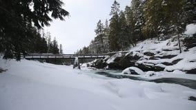 Glacier Nationalpark, der im Winter schneit stock footage