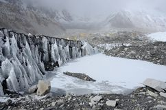 Glacier near Everest Base Camp,Nepal Royalty Free Stock Images