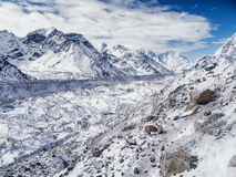 Glacier near Gorak Shep & Mount Everest stock images