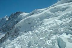 Glacier nearby Jungfraujoch pass in Alps in Switzerland Stock Photo