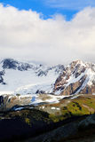 Glacier over the hill. A canadian Rocky Mountains glacier overlook some green hills Stock Images