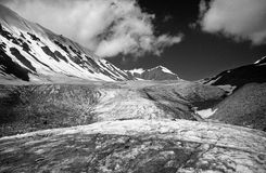 Glacier in Pamir Mountains BW Royalty Free Stock Images