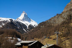 Glacier Paradise cable car passing the Matterhorn at Zermatt Stock Images