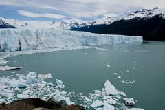 Glacier Perito Moreno. View of one of the fronts of the glacier Perito Moreno in the Los Glaciares National Park of Patagonia, facing on the Lake Argentino stock photos