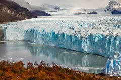 Glacier Perito Moreno National Park in autumn. Argentina, Patagonia.  stock photos