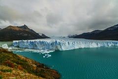Glacier Perito Moreno in the park Los Glaciares. Autumn in Patagonia, the Argentine side.  royalty free stock image