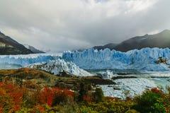 Glacier Perito Moreno in the park Los Glaciares. Autumn in Patagonia, the Argentine side.  royalty free stock images