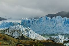 Glacier Perito Moreno in the park Los Glaciares. Autumn in Patagonia, the Argentine side stock photography