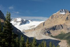 Glacier at Peyto Lake. Glacial formation next to Peyto Lake Royalty Free Stock Image