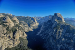 Glacier Point overlook view and Half Dome in Yosemite National P Stock Images