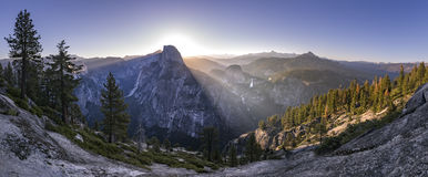 Glacier Point views panorama. Panoramic views from Glacier Point of Half Dome and Yosemite Falls Stock Image