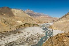 Glacier river flowing through mountain wasteland. Stock Image