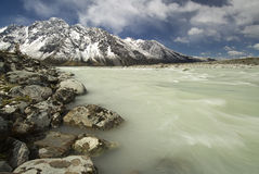 Glacier river in Mount Cook National Park Royalty Free Stock Images