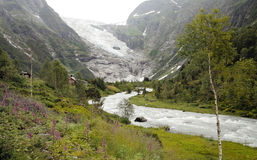 Glacier and River in Norway Royalty Free Stock Image