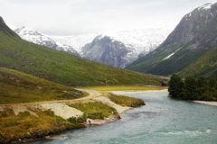 Glacier and River in Norway Royalty Free Stock Photos