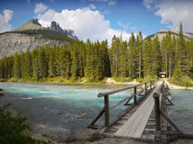 Glacier River, Wooden Bridge Stock Images
