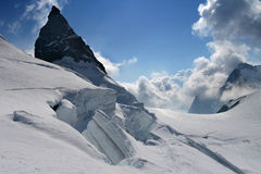 Glacier scenery. Mountain glacier scenery. Many crevasses Stock Images