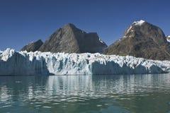 Glacier in Sermilik Fjord, Greenland. View of a large glacier in Sermilik Fjord, Greenland Stock Images