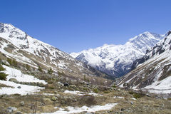 Glacier Seven and mount Cheget Royalty Free Stock Image