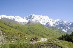Glacier Shkhara and the Inguri River Valley, Svaneti. Georgia royalty free stock image