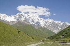 Glacier Shkhara and the Inguri River Valley, Svaneti. Georgia stock images