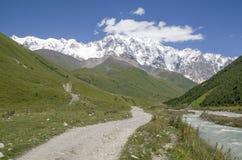 Glacier Shkhara and the Inguri River Valley, Svaneti. Georgia royalty free stock photos