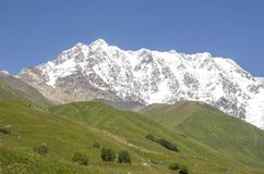 Glacier Shkhara and the Inguri River Valley, Svaneti. Georgia stock photo