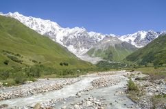 Glacier Shkhara and the Inguri River Valley, Svaneti. Georgia stock photos