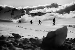 Glacier ski touring trip Stock Images