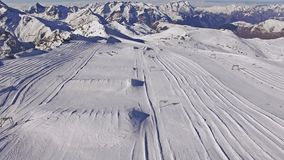 Glacier Skiing Aerial 4k. Aerial of slopes in Les Deux Alpes. This is a 4k video stock video